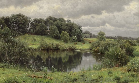 """PEDER M. MONSTED (Danish 1859-1941) """"CALM WATERS AT ORDRUP FARM"""" 1902"""