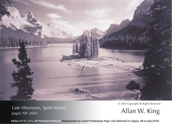 "Allan King, ""Late Afternoon, Spirit Island, Jasper NP"""