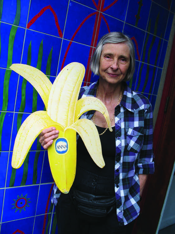 Anna Banana outside Open Space in Victoria with an artifact from her immense archive of banana paraphernalia. Photo by Portia Priegert