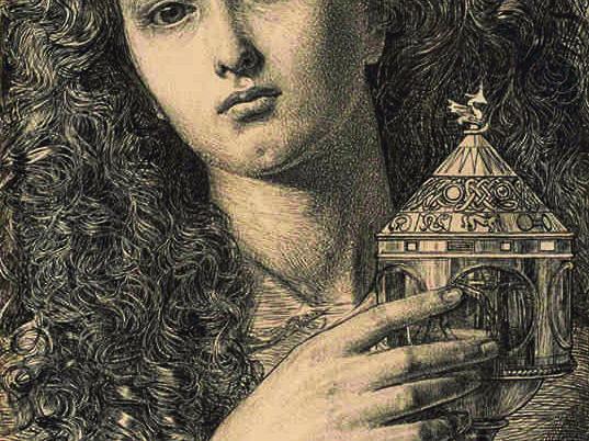 "Frederick Sandys ""King Pelles' Daughter Bearing the Vessel of Sangreal"" 1861"