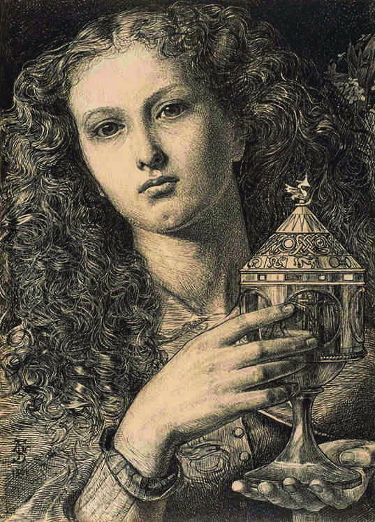 "Frederick Sandys ""King Pelles' Daughter Bearing the Vessel of Sangreal"" 1861"