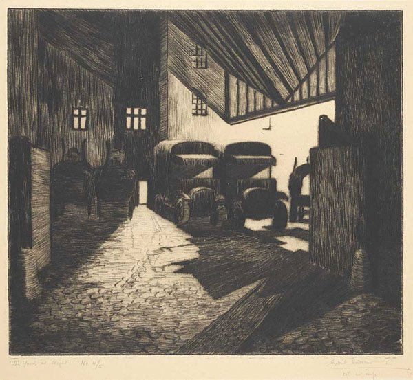 "Sybil Andrews, ""The Yard at Night"" #4/5"