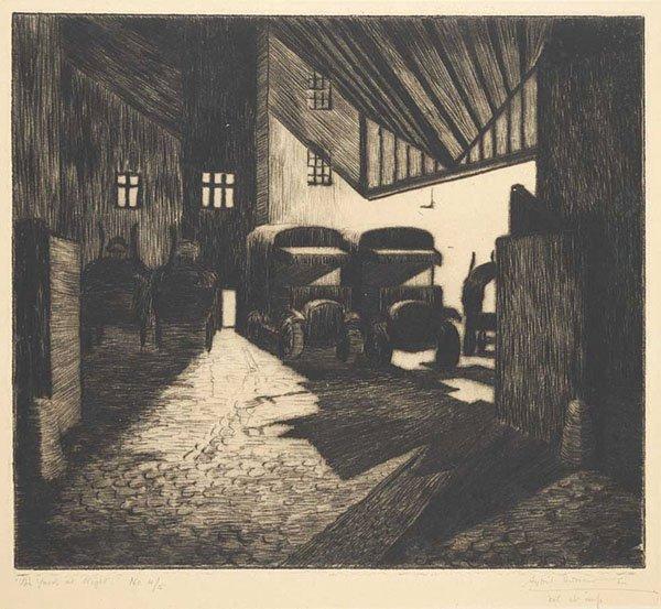"Sybil Andrews, ""The Yard at Night"" #4/5"