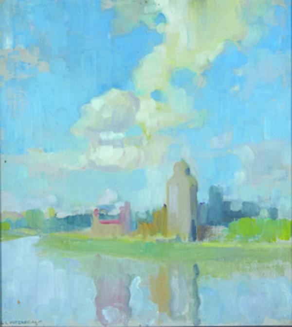 "Lionel Lemoine Fitzgerald, ""Grain Silos, Saskatchewan"""