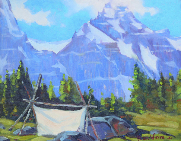 """Peter Whyte, """"Untitled - Sketching Tent in the Rockies"""", 1932"""