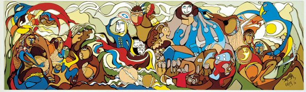 """Daphne Odjig, """"The Indian in Transition"""", 1978"""