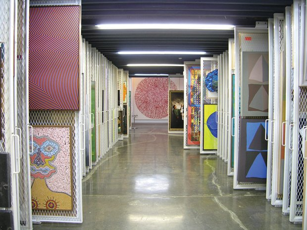 Storage racks at the Canada Council Art Bank