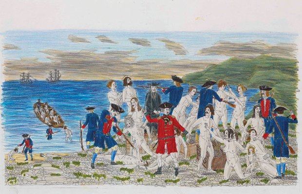 """Mario Doucette, """"The Acadian Deportation (after Sir Francis Dicksee)"""", study, 2012"""