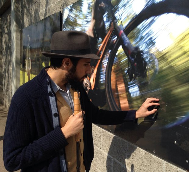 """Artist Carmen Papalia during one of his sound walks at """"The Grove""""."""