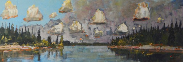 """Gregory Hardy """"Floating Clouds, Passage Between Islands,"""" 2015"""