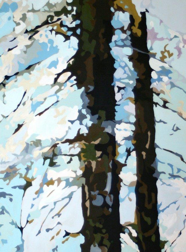 """Holly Ann Friesen, """"Strong Blues I""""  18""""x24"""" acrylic on canvas"""