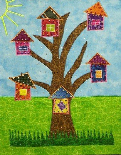 "Kathryn deBree Tree Houses Fabric & Embellishments 20"" x 16"""