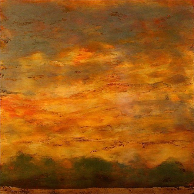 "Debra Van Tuinen ""River's Edge,"" mixed media on panel 42"" x 42"""