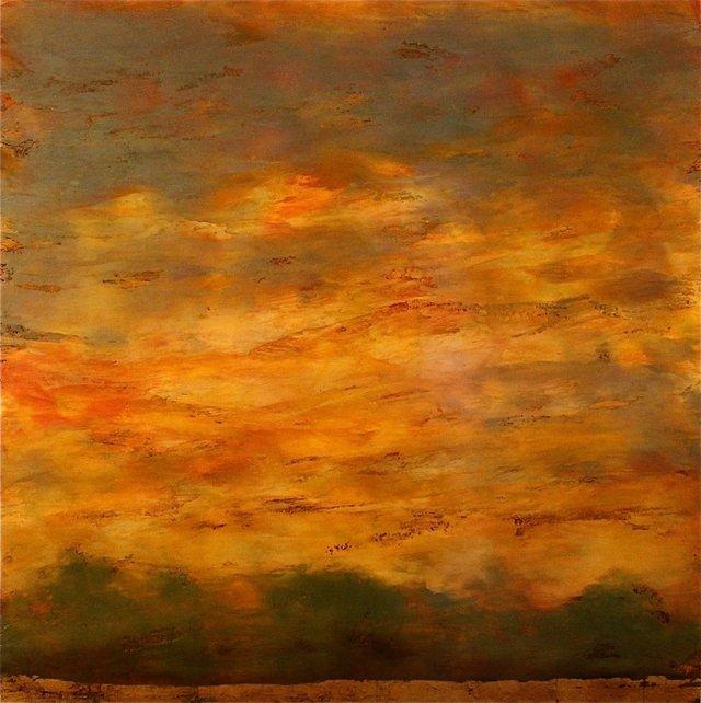 """Debra Van Tuinen """"River's Edge,"""" mixed media on panel 42"""" x 42"""""""