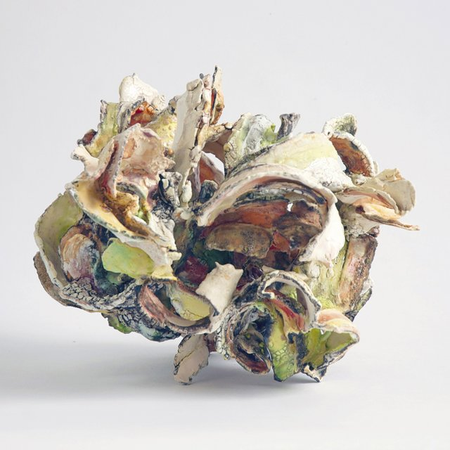 "Susan Collett ""Florid"" earthenware paper clay 9"" x 13"" x 12"""
