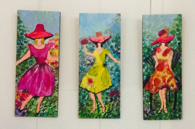 Beverly Hart paintings that are on display at the Gwen Fox Gallery