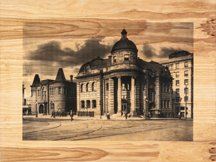 """Ryan Lundy, """"The Carnegie (This Old Town),"""" 2015, screen print on wood panel, 27 x 34 in."""
