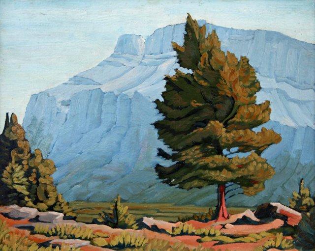 "Margaret Shelton, ""Windswept Fir in Mountains,"" oil on paperboard, 13.25"" x 16.5"""