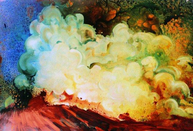 "Samantha Williams Chapelsky, ""Stone Clouds,"" Acrylic on Terraskin"