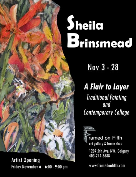 """Sheila Brinsmead, """"Tiger Lily,"""" mixed media collage 9"""" x 12"""""""