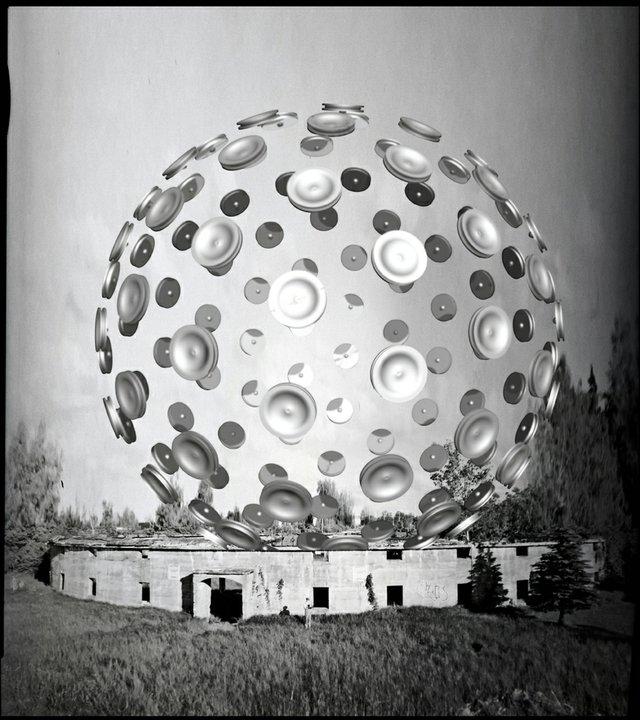 "Andrew John Milne, ""Forgotten Futures,"" photographic emulsion of canvas, laser cut birch, beam-splitting mirrors"