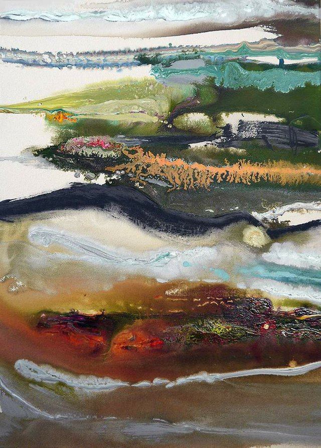 """Kelly Krueger """"Pine Cree Coulee' acrylic on canvas 36 x 24 inches"""