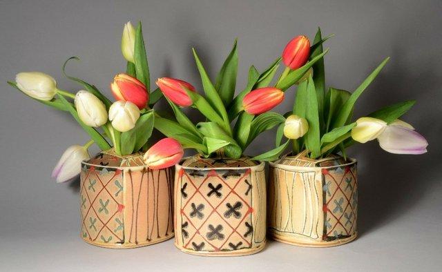"""Dawn Candy,""""flower bricks,""""ceramic, 4""""x 5"""" ea"""