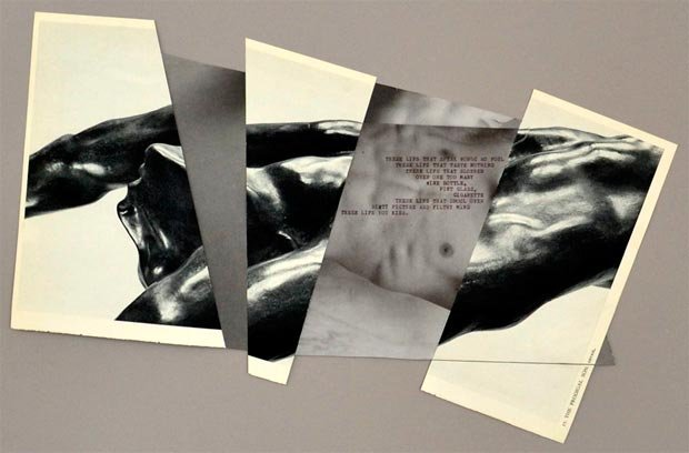 """Shan Kelley, """"Copula"""", 2014, mixed media (text typed onto found photo, black-and-white plate of Auguste Rodin's L'Enfant Prodige / Prodigal Son), 24"""" x 36"""""""