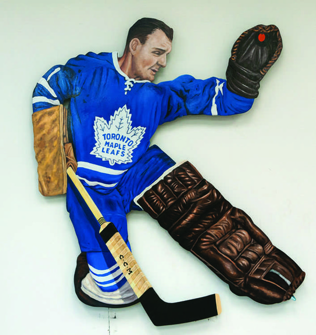 "Glenn Clark, ""Glove Save"", 2014, mixed-media kinetic enamel on metal, 50"" x 45"""