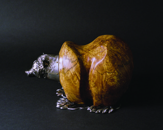 """Tobias Luttmer, """"Burly Bear"""", 2013, stainless steel and maple burl, 9"""" x 13"""""""