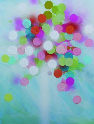 "Rachelle Kearns, ""Fireworks #1"", 2015, acrylic on board, 24"" x 18"""