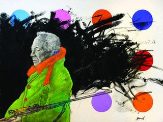 """Kapil Harnal, """"Karl Kuerner"""", 2015, charcoal and oil on wood panel, 18"""" x 24"""""""