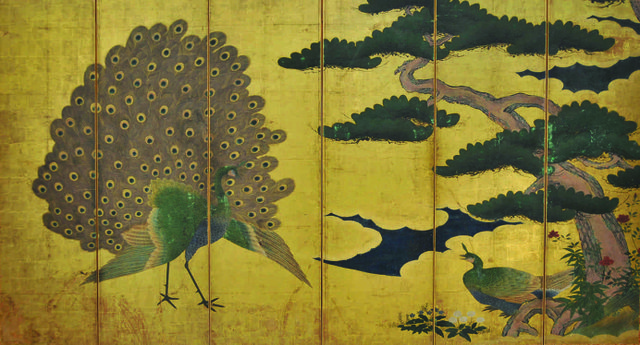 Ancient arts remarkable asian treasures at the art gallery of sanraku kano 1559 1635 peacocks and pine tree six sciox Gallery