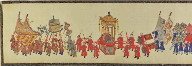 """Long Funerary Procession"", Chinese, Qing dynasty, 19th century, handscroll, ink and colours on paper"