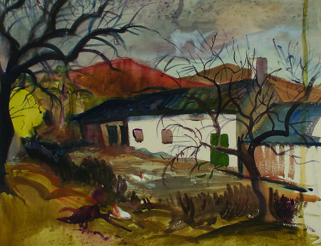 """Richard Ciccimarra, """"House in the Dominican"""", no date, watercolour on paper, 16"""" x 18.5"""""""