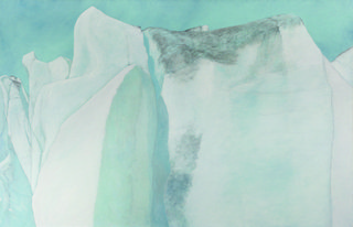 "Leslie Reid, ""Llewellyn II 59°04'N; 134°05'W"", 2014,  oil and graphite on canvas, 32"" x 50"""