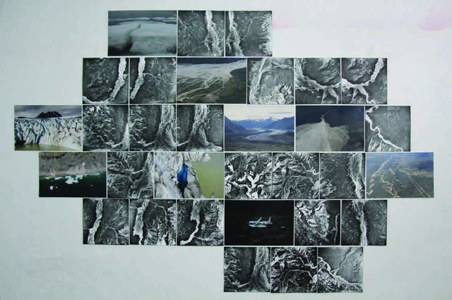 "Leslie Reid, ""Mapping Mosaic Maquette"", 2015, archival photos, National Air Photo Library; Leslie Reid, photographs taken with the Canadian Forces Artists Program, 2013"