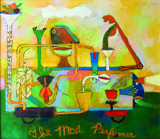 "Peter Aspell, ""The Mad Perfumer"", 2002, oil on paper, 14"" x 16""   Peter Aspell Estate, Courtesy Joy Aspell"