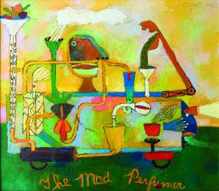 "Peter Aspell, ""The Mad Perfumer"", 2002,oil on paper, 14"" x 16""  Peter Aspell Estate, Courtesy Joy Aspell"