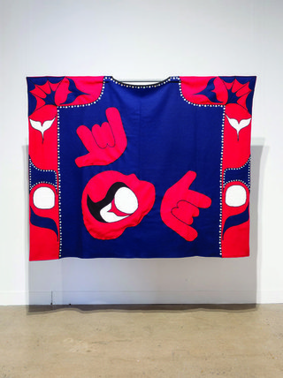 "Sonny Assu, ""When Raven Became Spider, Embrace,"" 2003, akoya shell buttons, melton wool, synthetic gabardine and white cotton jogging fleece, 80"" x 98"""