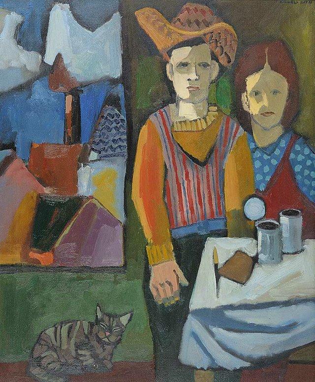 "Maxwell Bennett Bates ""Interior with Figures"""