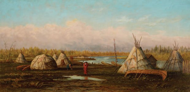"FREDERICK ARTHUR VERNER ""OJIBWAY CAMP AT NORTHWEST ANGLE, LAKE OF THE WOODS"" 1874"