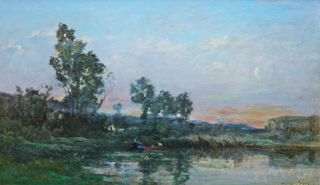 """Maurice Levis,""""Sunset and Moonrise"""",oil on panel, signed lower right, 11"""" h x 18"""" w"""