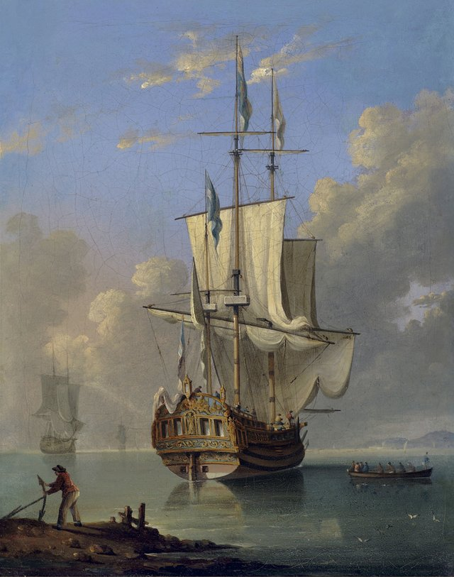 "Peter Monamy (Attributed)(British 1681-1749), ""Royal Yacht"", oil on canvas, 17.5"" h x 14"" w"
