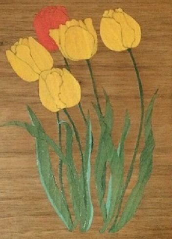 "Jonica & Alex Heinze,""Yellow Tulips (detail)"", Natural & dyed veneer 11.5"" x 8"""