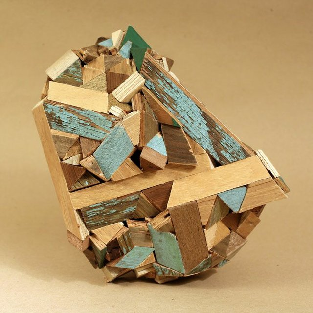 "Aaron Moran ""Cul de Sac (Geologies) No. 5,"" Red cedar, plywood, reclaimed wood 12"" x 12"" x 12"" (approx..)"