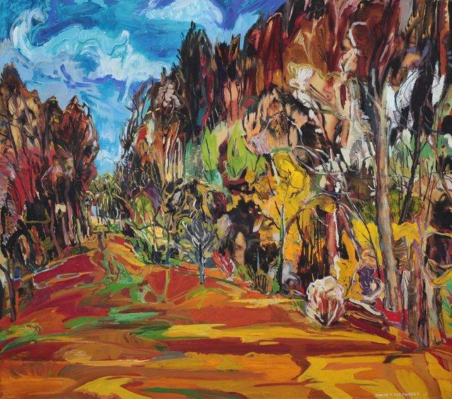 "David Alexander,""Corridor Carved for Reasons,"" 2013, Acrylic on canvas, 52"" x 58"""