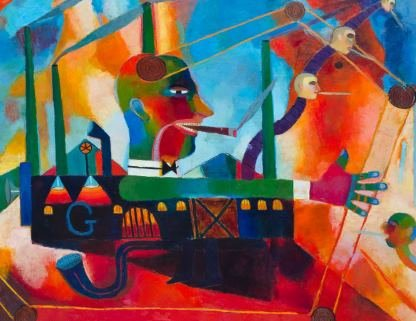 "Peter Aspell, ""The Industrialist,"" 1998, oil on canvas, ""55 ½ x 70 in """