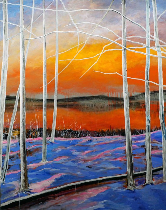 """Jim Park, """"Lake in Winter"""", Oil & Acrylic on Canvas, 60 x 48 in., 2016"""