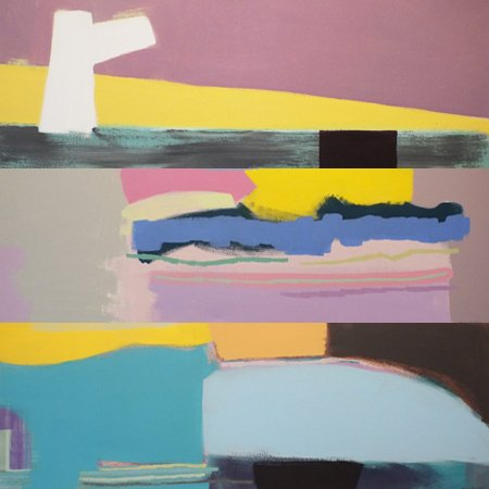 "Barbara Ballachey, ""Ongoing Beginnings,"" Medium:  Acrylic on canvas, 12"" x 36"""
